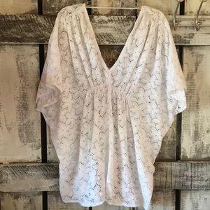 VS White Eyelet Dolman Sleeve Swimsuit Coverup S/P